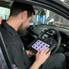 using specialised diagnostic kit -Subaru car servicing - Sublab Whangarei